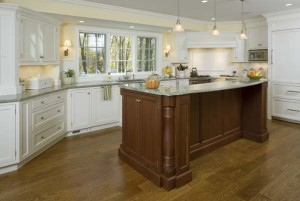 wood island and white kitchen